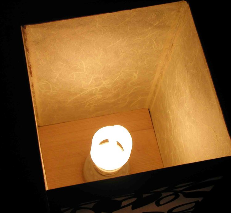 Looking inside lantern at florescent bulb.