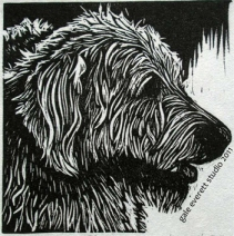 """Reggie"", block print, gale everett studio, 2011"