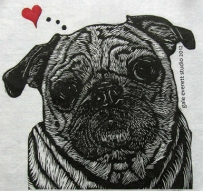I Pug You, 2012 block print, gale everett studio