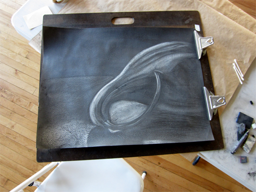 Reductive graphite drawing on Rives BFK full sheet. Gourd by Gale Everett