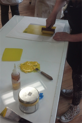 Rose inking Perspex (plexiglass) plate in yellow