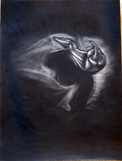 Reductive charcoal drawing of a pepper by Gale Everett on a full sheet of Rives BFK