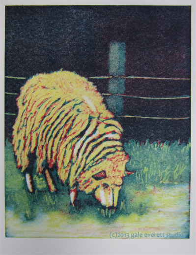 Full color sheep print.