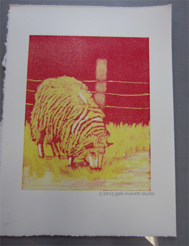 Two colors down on sheep print.
