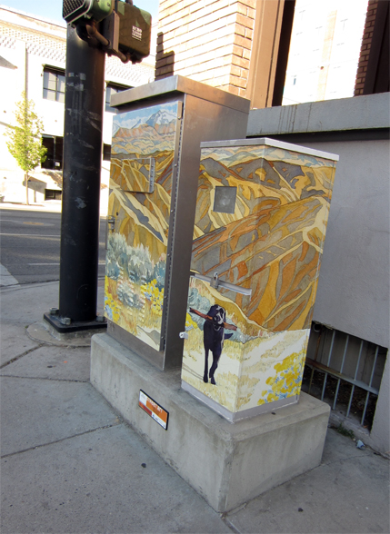 Side view of traffic light control box.