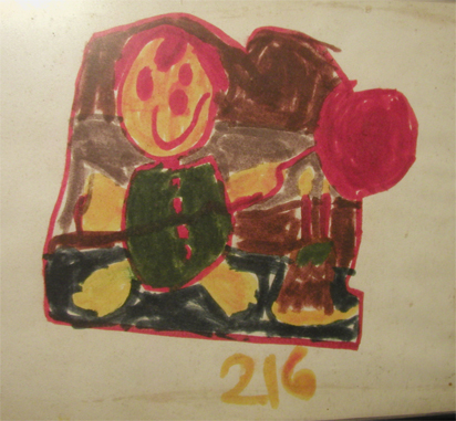 A felt marker drawing I created as a child.