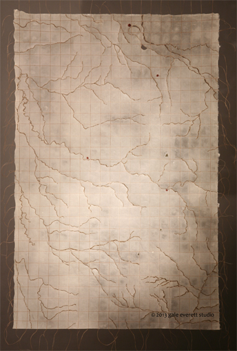 mixed media: kozo paper, burned, stitched and waxed