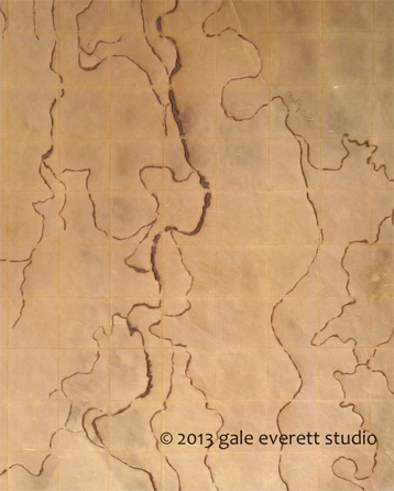 Mixed Media: kozo paper, burned, stitched, waxed. Gale Everett 2013