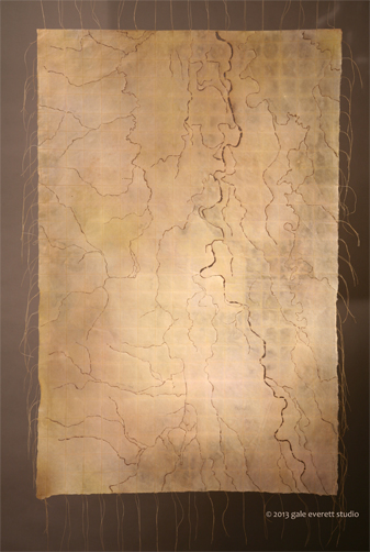 Mixed Media: hand colored kozo paper, burned, stitched, waxed. Gale Everett 2013