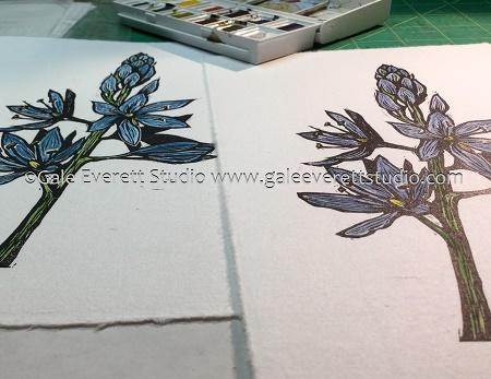 Hand colored block print