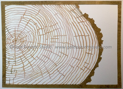 Tree Rings and Bark, hand-cut paper, Gale Everett Studio 2015